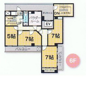 メゾネット型マンション6階フロア