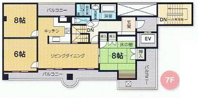 メゾネット型マンション7階フロア