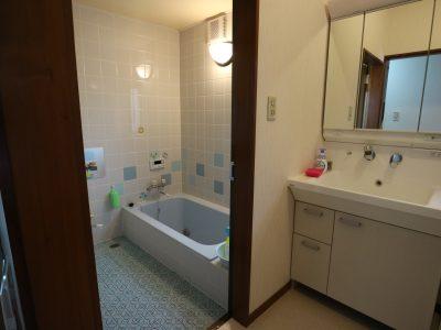 洗濯機、乾燥機、洗面所併設の手前のお風呂