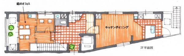 2階に居住者も使えるキッチンダイニングがあります。