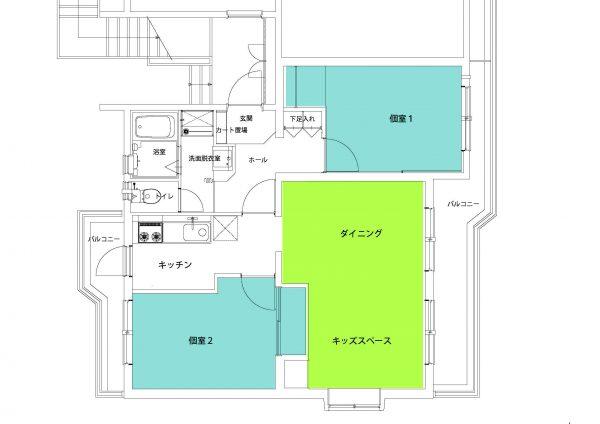 キッズスペースは将来的に子ども部屋として使えるように工夫しています。各個室にはバルコニーがついています。