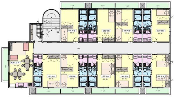 3階:水回り完備の独立型プラン。9世帯で玄関・リビングをシェア。