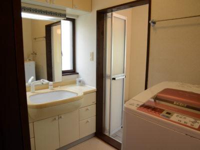 1階の洗面所。洗濯機もあります。